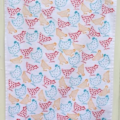 Block Printed Chicken Tea Towel