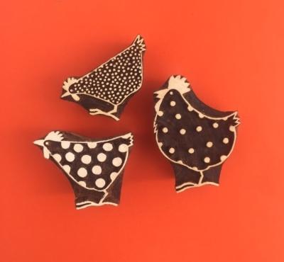 Set of Indian Printing Blocks- 3 Chickens
