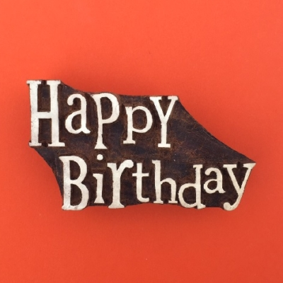 Indian Wooden Printing Block- Happy Birthday