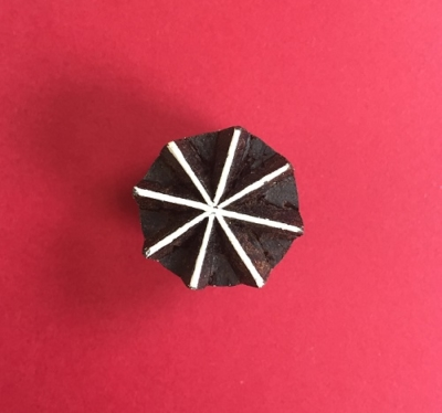 Indian Wooden Printing Block- Mini 8 Point Snowflake