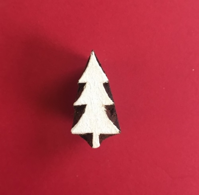 Indian Wooden Printing Block- Mini Christmas Tree 1