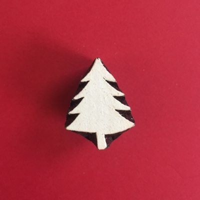 Indian Wooden Printing Block- Mini Christmas Tree 2