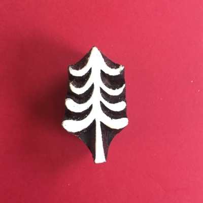 Indian Wooden Printing Block- Mini Christmas Tree 3