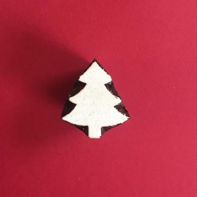 Indian Wooden Printing Block - Mini Christmas Tree 4
