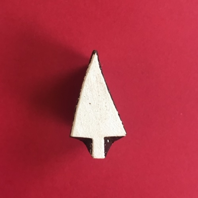 Indian Wooden Printing Block- Mini Christmas Tree 5