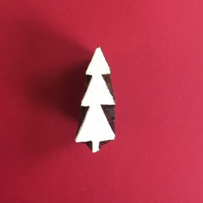Indian Wooden Printing Block- Mini Christmas Tree 6
