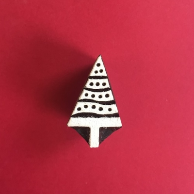 Indian Wooden Printing Block- Mini Spotty Christmas Tree