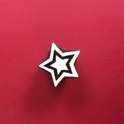 Indian Wooden Printing Block- Mini Double Star