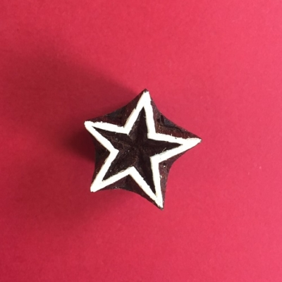Indian Wooden Printing Block- Mini Outline Star