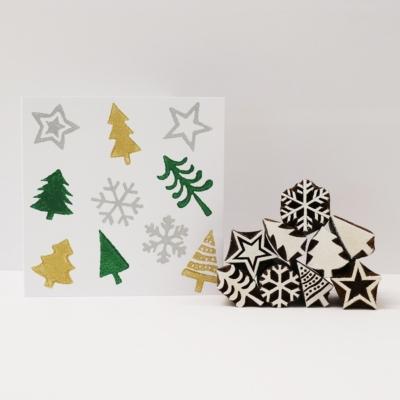 Indian Wooden Block Set- Mini Christmas Designs