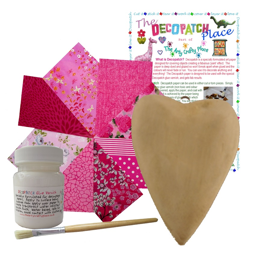 Wooden Hanging Heart Decopatch Kit