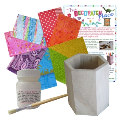 Hexagonal Pen Pot Decopatch Kit