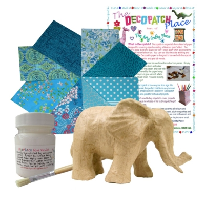 Small Trunk Down Elephant Decopatch Kit