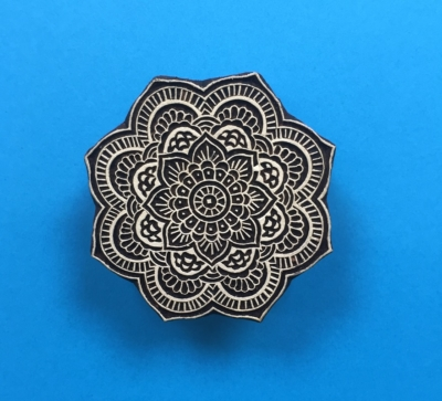 Indian Wooden Printing Block- Detailed Indian Sunflower