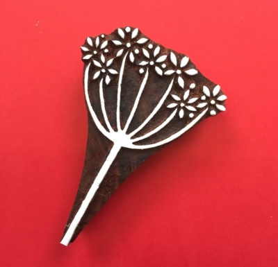 Indian Wooden Printing Block- Cow Parsley
