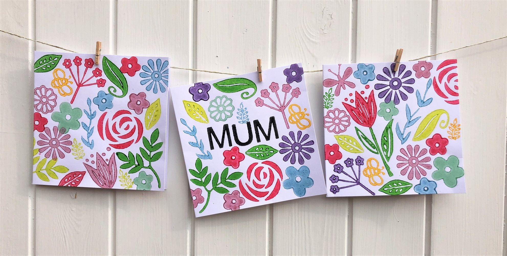 Block Printed Mothers Day Cards