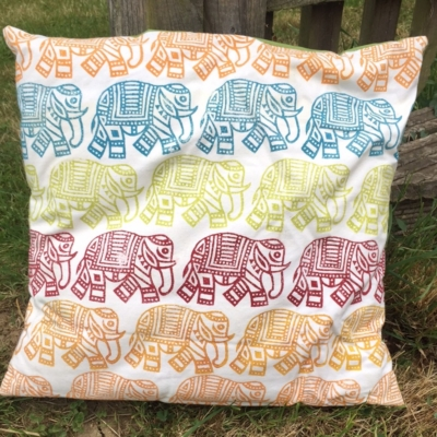 Elephant Cushion Block Printing Sample