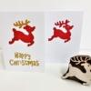 Christmas Card Design- Leaping Reindeer & Happy Christmas