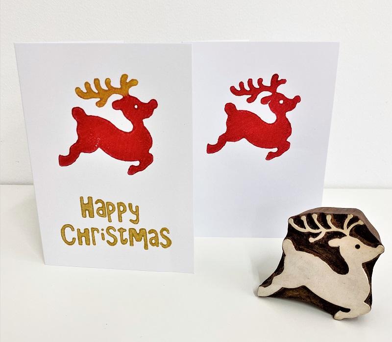 block printing kit leaping reindeer christmas cards