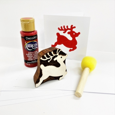 Block Printing Kit- Leaping Reindeer Christmas Cards