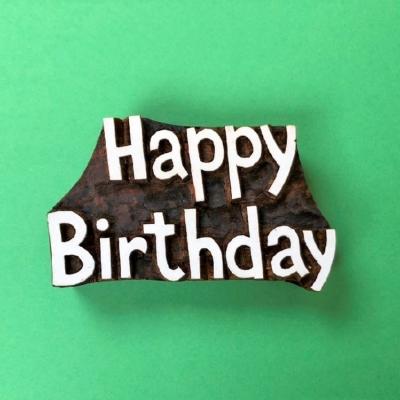 Indian Wooden Printing Block- Bold Happy Birthday