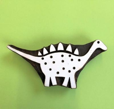 Indian Wooden Printing Block- Dinosaur Stegosaurus