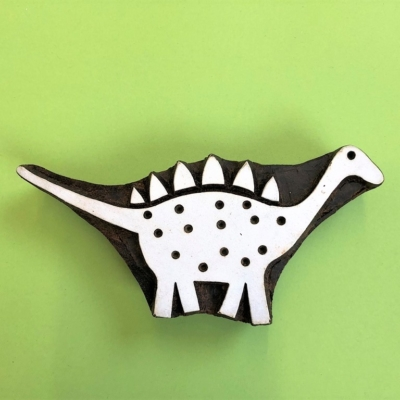 Indian Wooden Printing Block- Dinosaur Stegosaurus