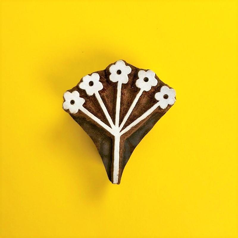 Indian Wooden Printing Block- Flower Seed Head