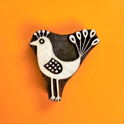 Indian Wooden Printing Block- Funky Bird 1