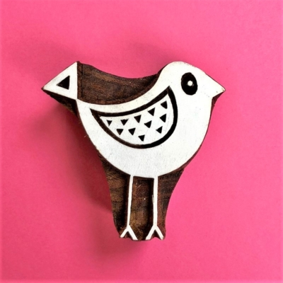 Indian Wooden Printing Block- Funky Bird 3
