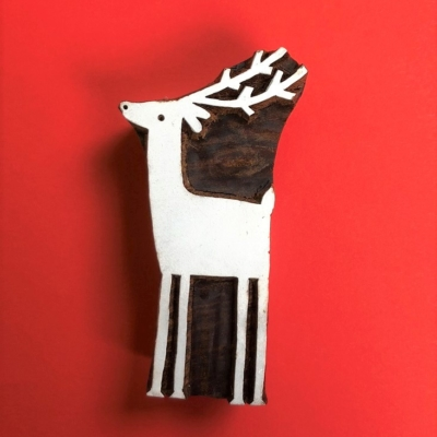 Indian Wooden Printing Block- Large Standing Reindeer