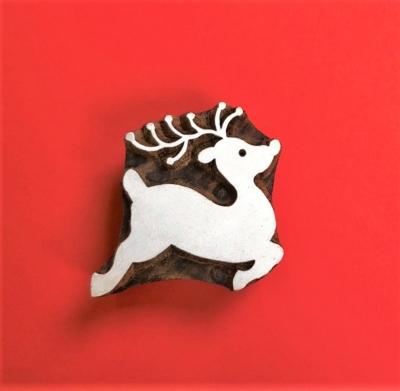 Indian Wooden Printing Block- Leaping Reindeer