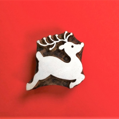 Indian Wooden Printing Block- Leaping Reindeer