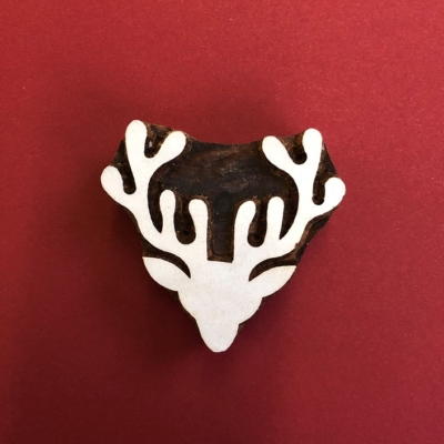 Indian Wooden Printing Block- Stag Head