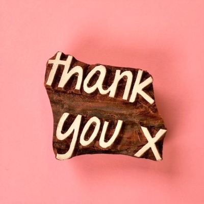 Indian Wooden Printing Block - Thank you