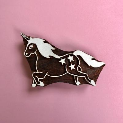 Indian Wooden Printing Block- Unicorn
