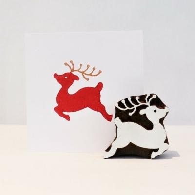 Indian Wooden Printing Block - Leaping Reindeer