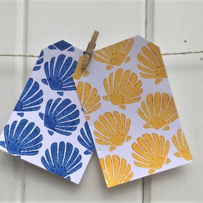 Indian Block Printed Gift Tags- Small Shell