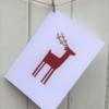 Block Printed Reindeer Christmas Card