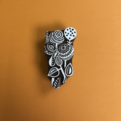 Indian Wooden Printing Block Contemporary Seed Head