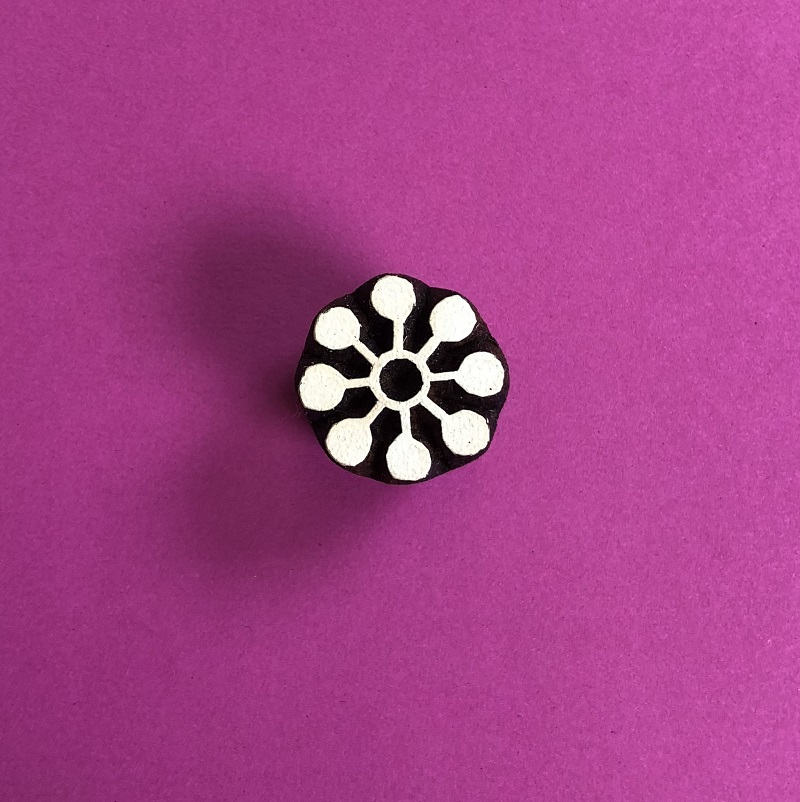 Indian Wooden Printing Block- 8 Point Mini Flower