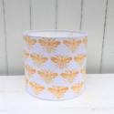 20cm Hand Block Printed Lampshade- Yellow Bee Design