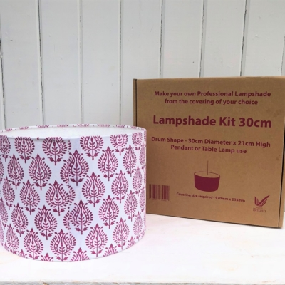 Block Print Your Own 30cm Lampshade Kit- Paisley Design