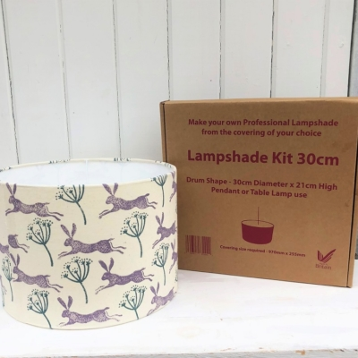Block Print Your Own Lampshade Kit- Hare & Seed Head Design
