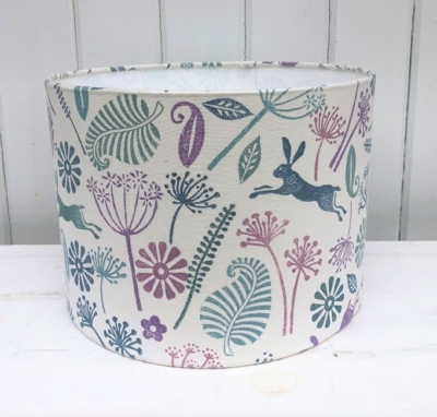 Hand Block Printed Lampshade- 30cm Drum Lampshade Kit