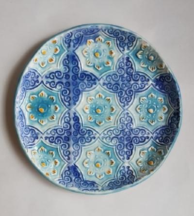 Block Printed Clay Plate
