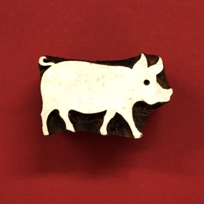 Indian Wooden Printing Block- Pig