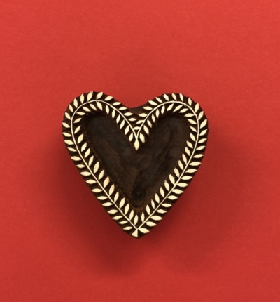 Indian Wooden Printing Block - Vine Heart
