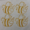 Indian Wooden Printing Block- Large Smiley Bee Fabric Sample
