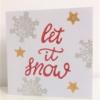 Block Printed Let It Snow Christmas Card